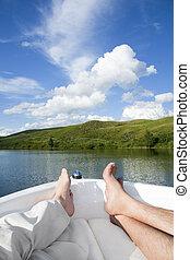 relaxante, um barco, cruzeiro