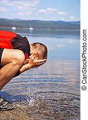 relaxar homem, em, a, lago