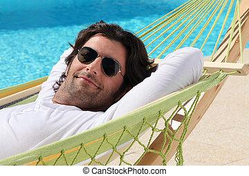 relaxar homem, em, rede