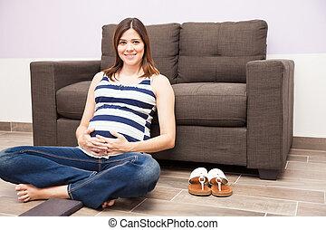 relaxar repouso, durante, gravidez