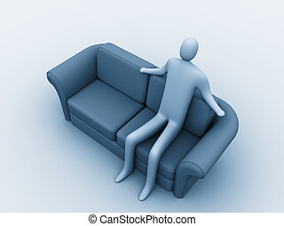 Relaxation - 3d person sitting on a sofa.