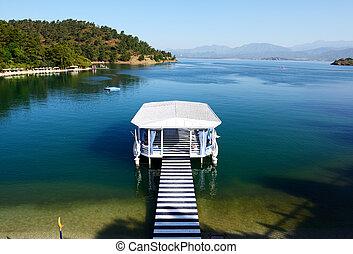 Relaxation building near beach on Turkish resort, Fethiye,...