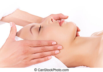 Relaxation - Face of calm female during procedure of facial...
