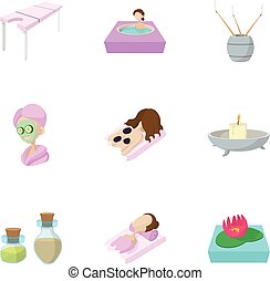 Relaxation icons set, cartoon style
