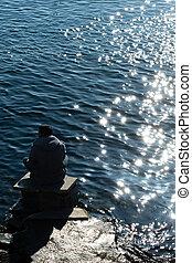 relaxation., liberté, concept, plage., homme, contempler, séance