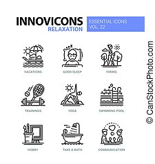 Relaxation - modern color vector single line icon set -...