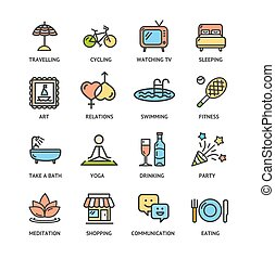 Relaxation Rest Time Color Thin Line Icon Set. Vector