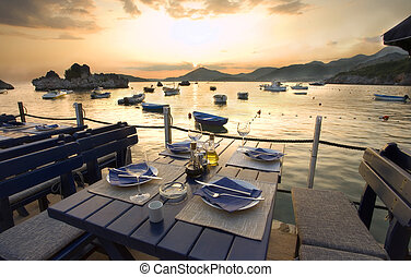 Restaurant exteriors, Montenegro seaside, summer season.