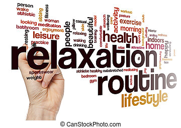 Relaxation routine word cloud