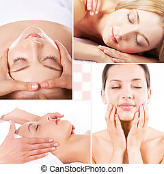 Relaxation - Collage of facial and body massage