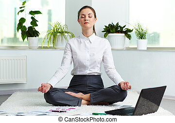 Relaxation - Portrait of attractive white collar worker...