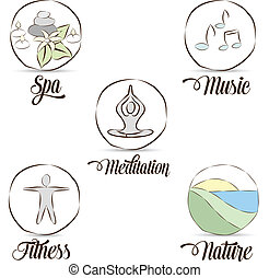 Relaxation symbols - Relaxation symbol collection Hand drawn...