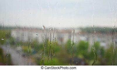 relaxation., verre, pluvieux, rester, mélancolie, jour, ...