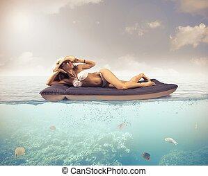 relaxe, em, tropicais, mar