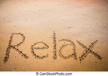 relaxe, escrito, em, a, areia, ligado, um, praia