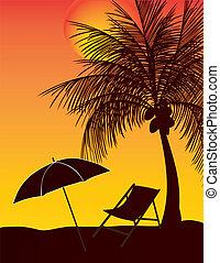 relaxe, guarda-chuva, árvore coco