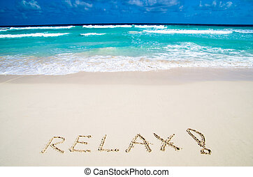 relaxe, ligado, praia areia