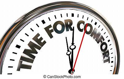 relaxe, relógio, conforto, ilustração, palavras, tempo, 3d