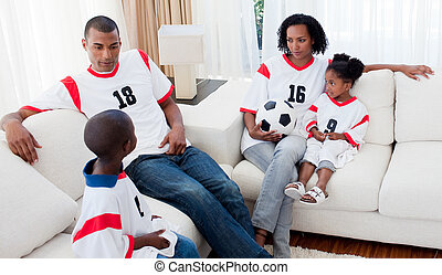 Relaxed Afro-american family