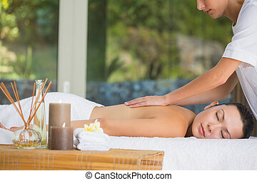 Relaxed brunette getting a back massage