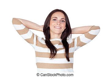 Relaxed brunette girl