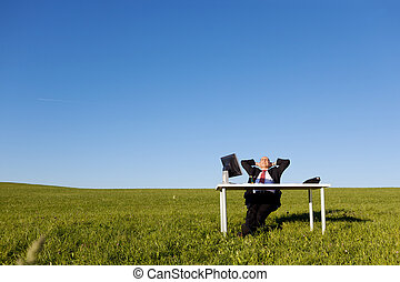 Relaxed Businessman With Hands Behind Head On Field