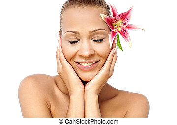 Relaxed calm beautiful spa woman