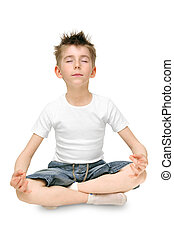 child practicing yoga - Relaxed child practicing yoga...