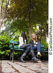 Relaxed female friends chatting in the park