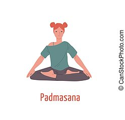Relaxed girl with closed eyes sitting in padmasana position vector flat illustration. Meditation yogi woman in Lotus pose isolated on white background. Sports female practicing yoga