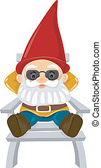 Illustration of a Gnome Sitting Comfortably on a Reclining Chair
