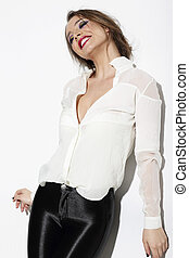 Relaxed Happy Woman in White Blouse
