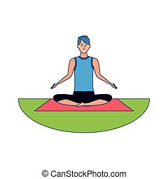 Relaxed man practicing yoga over white background, colorful design, vector illustration