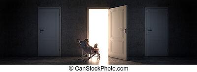 relaxed man with open door. 3d rendering