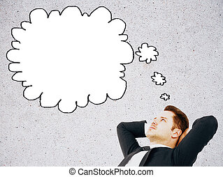 Relaxed man with thought bubble