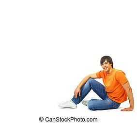 relaxed., sitzen, freigestellt, junger, zufrieden, white., porträt, beiläufig, mann