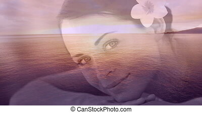 Relaxed smiling women with flower and sea landscape for valentine day 4k
