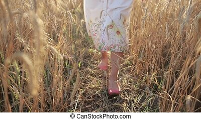 Relaxed woman legs walking in ripened wheat field