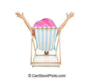 relaxed woman sitting on beach chairs and raise hands