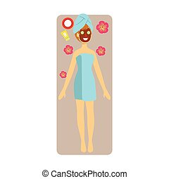 Relaxed woman with chocolate face mask applied to her face. Colorful character isolated on a white background