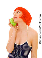 relaxed woman with sponge