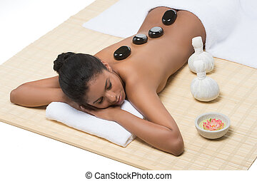 Relaxed women at SPA. Top view of beautiful young women...