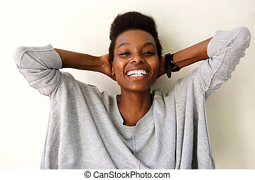Relaxed young african woman