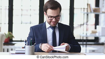 Smiling ceo achieving targets easily, startup idea concept...