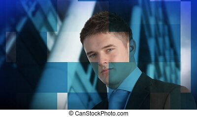 Relaxed Young Businessman looking at the camera