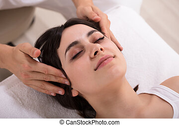 Woman Receiving Acupuncture Treatment - Relaxed Young Woman ...