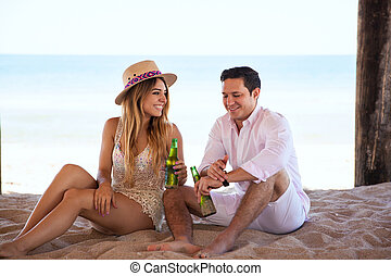 relaxen, aan het strand, en, flirten
