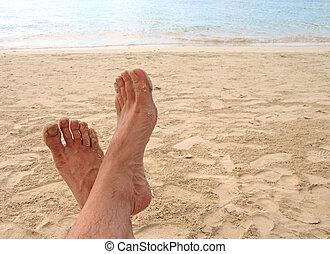 relaxen, op het strand