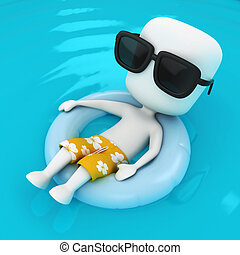 Relaxing - 3D Illustration of a Man relaxing on a Flotation...
