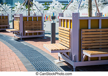 Relaxing area with wooden bench